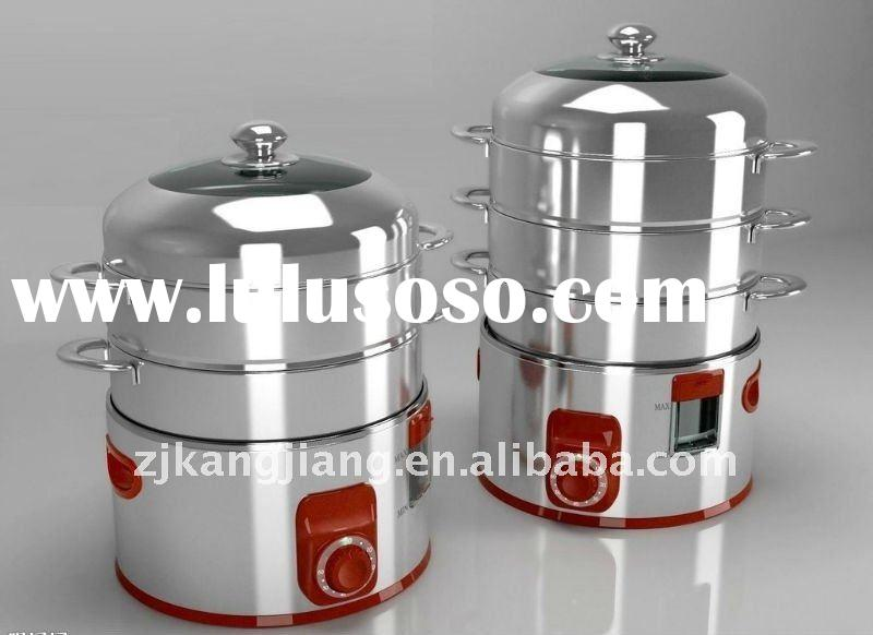 Stainless steel electric food steamer,3-layer stainless steel electric steamer