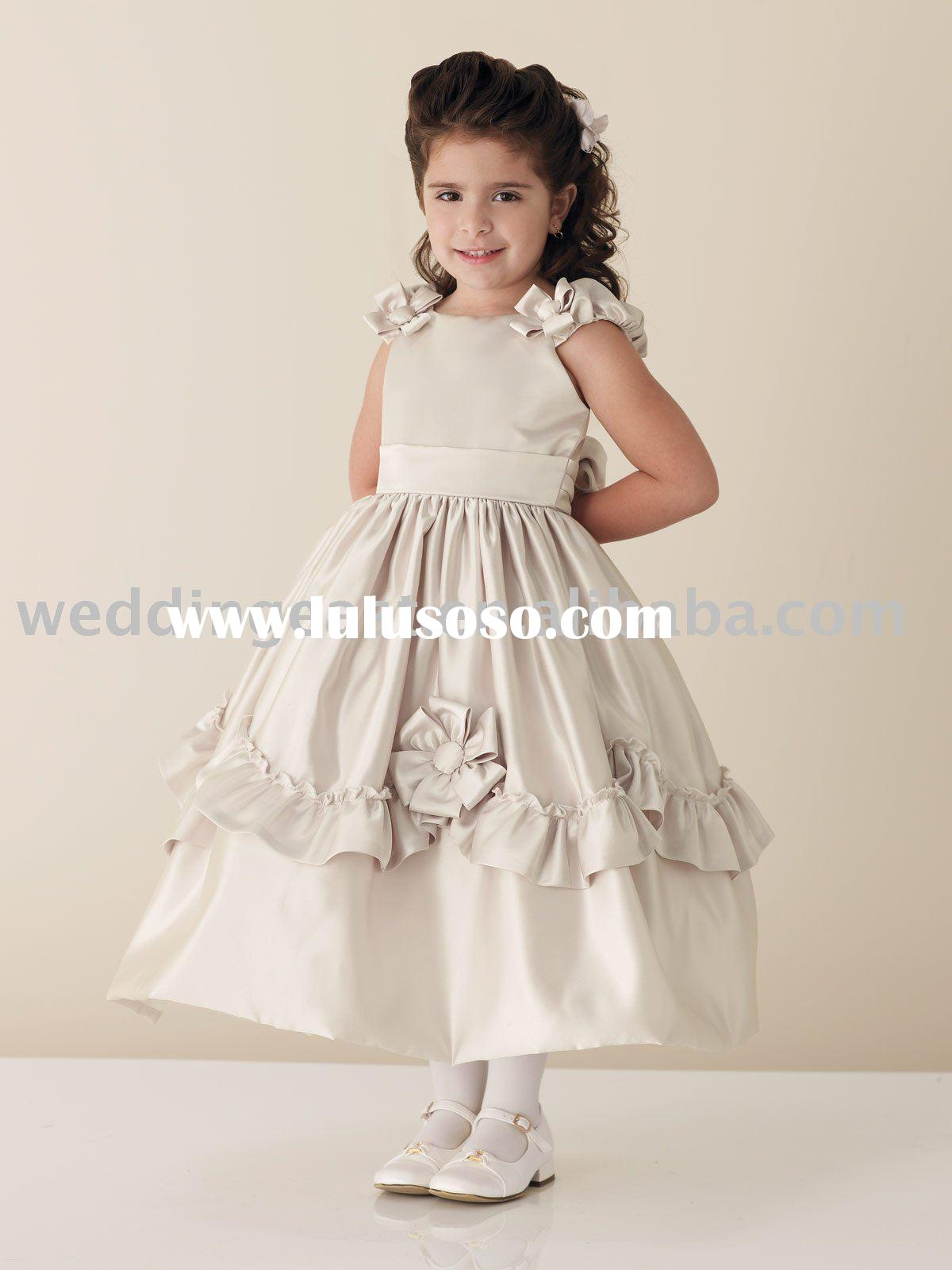 Sweet Charmeuse A Line Ribbon Flower Girl Dress