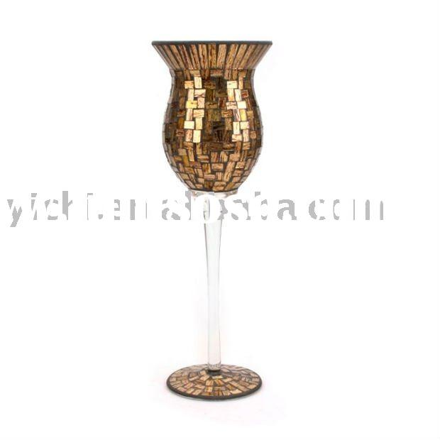 Tall Mosaic Glass Candle Holders