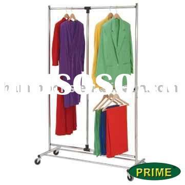 Two Tier Adjustable Chrome Plated Steel Garment Rack With Wheels