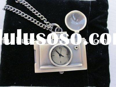 Vintage camera pendant watch necklace& fashion alloy pocket watch