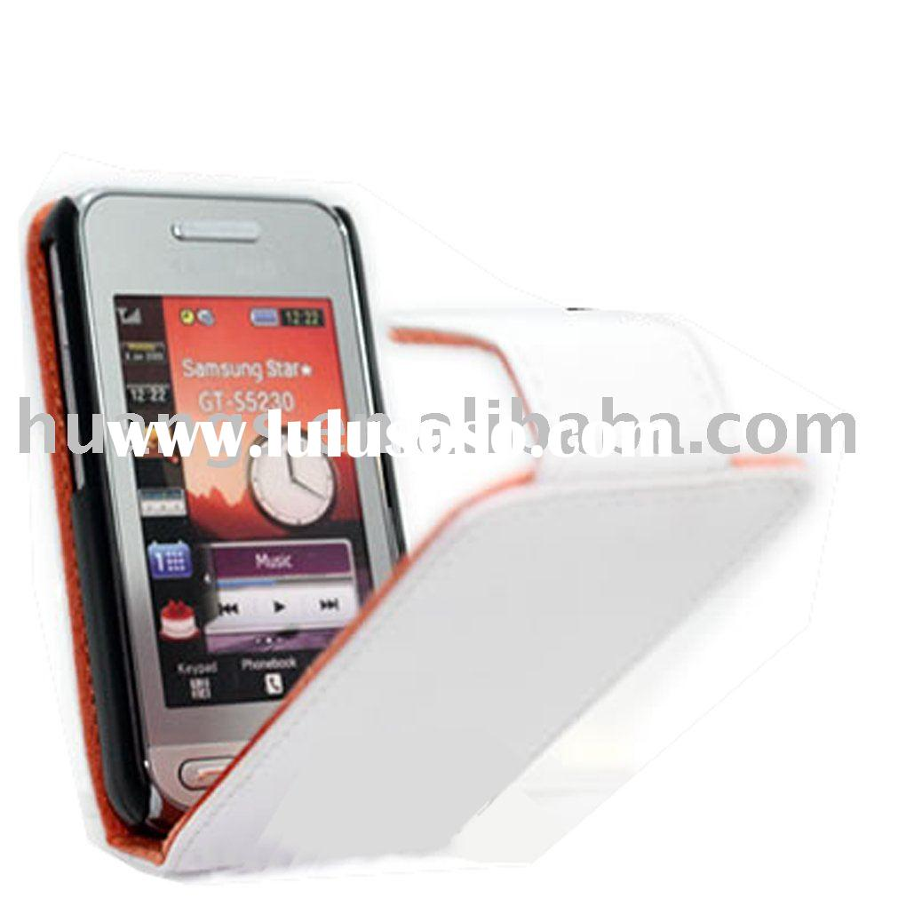 WHITE FLIP LEATHER CASE FOR SAMSUNG S5230 MAGNETIC CLIP DESIGN PAYPAL ACCEPT