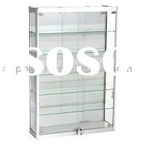 Wall Mounted Display Cabinets, aluminum profile, tempered glass, halogen lights illumination, hinged