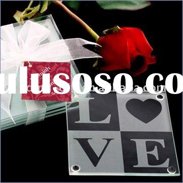 Wedding decoration ofLove Glass Coaster Wedding Favors w/ Free Personalized Tags wedding gift