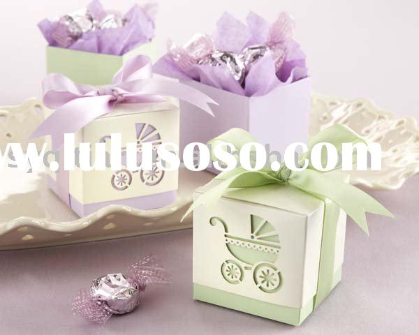 "Wedding favor boxes candy boxes baby shower-""Baby's Day Out"" Laser-Cut Carriage Fa"