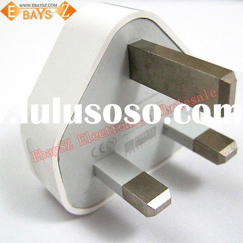White USB 3 Pin Power Charger UK Plug Adapter For iPhone for iPad for iPod IP-113 Wholesale/Retail