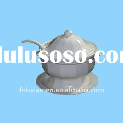 White ceramic soup tureen with lid, ladle and plate
