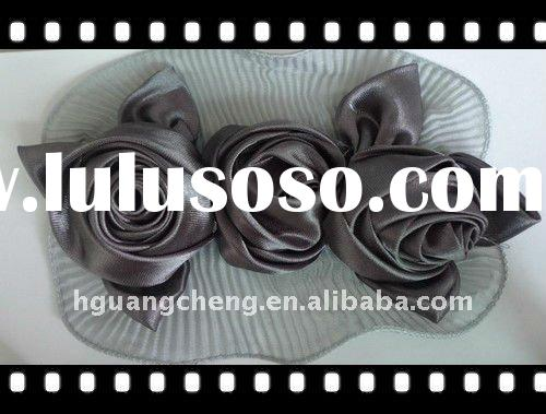 Y0115/Elegant Silk Satin Ribbon Flowers Rose for Accessories