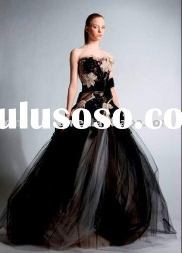 ZF039 Fall Winter 2010-2011 Strapless lace embroidery ball gown tulle haute couture evening dress