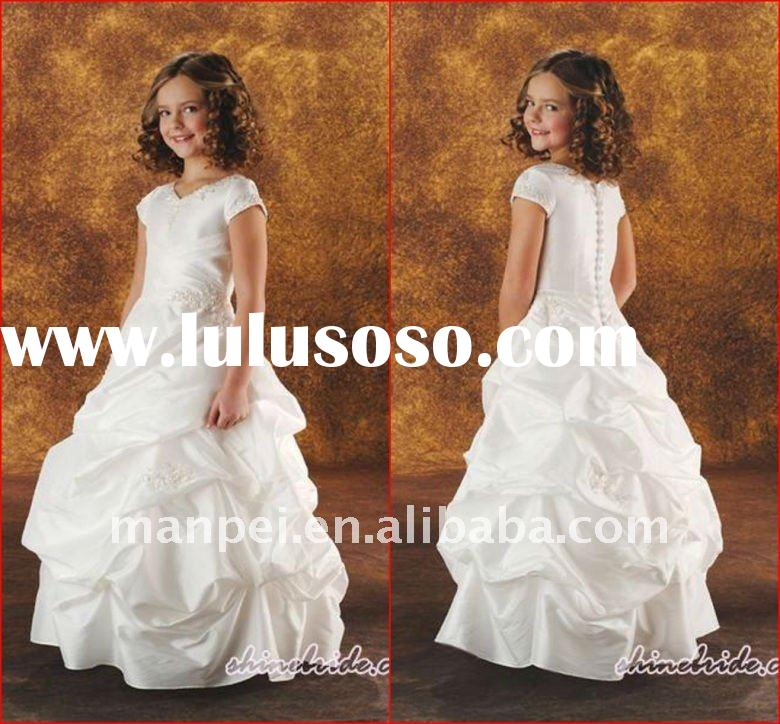 (H-11)2012Custom White Puffy Short Sleeve Little Ball Gown For Wedding Angel Dress Flower Girl Dress