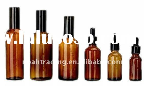 amber color glass essential oil bottle with dropper