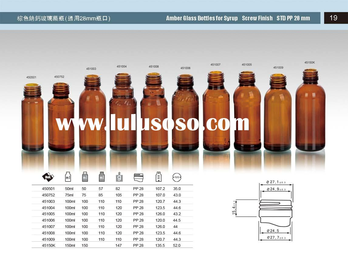 amber glass bottles for syrup screw finish