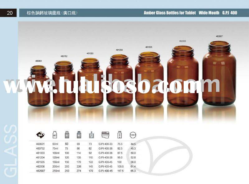 amber glass bottles for tablet wide mouth GPI 400