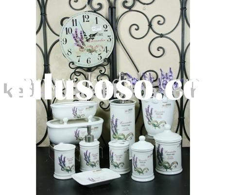 bath set, porcelain bathroom set, bathroom accessories, Lavender bathroom set