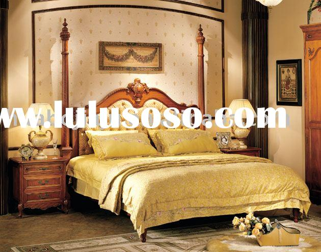 bedroom furniture(Malaysia rubber wood MDF upholstery fabric high-density sponge HB-3-A1047)