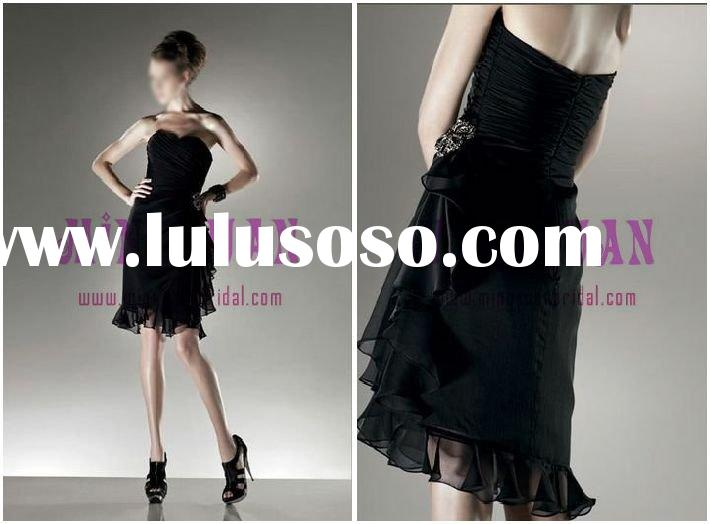 black chiffon short party dresses for juniors cd02