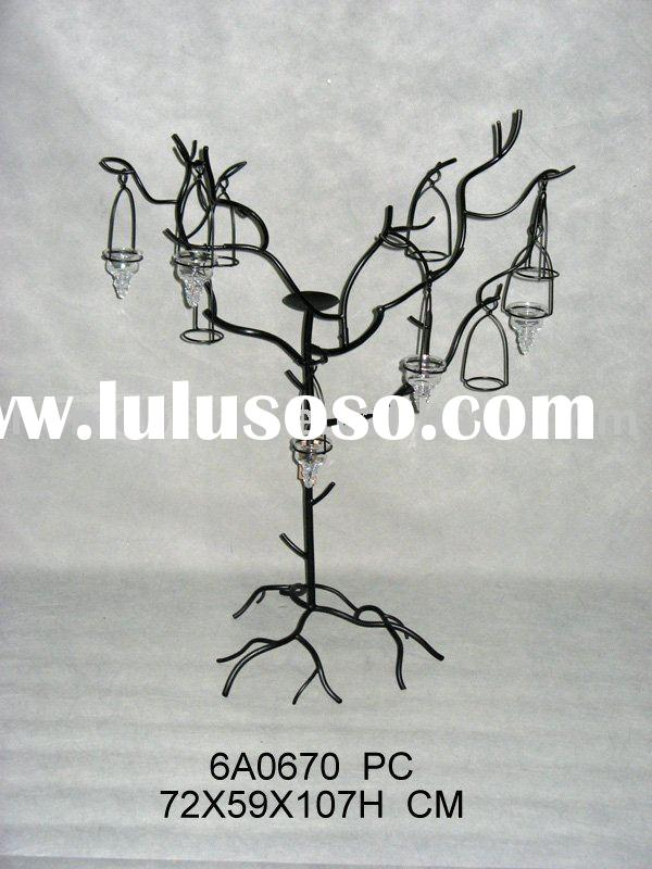 black tree form metal candle holder
