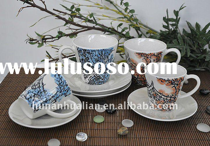ceramic cup and saucer set with beautiful Chinese painting