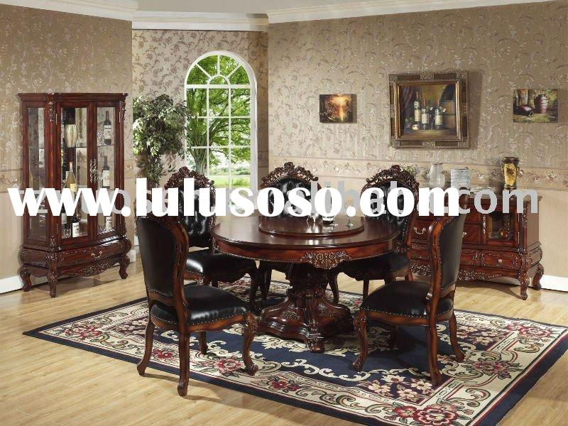 classical oak wood round dining table & chairs NS-9812