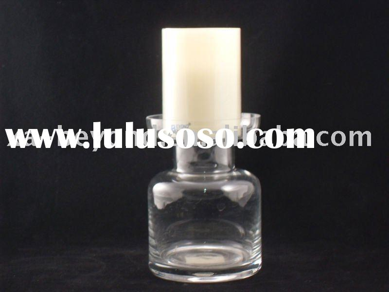clear glass candle holder with pillar candle