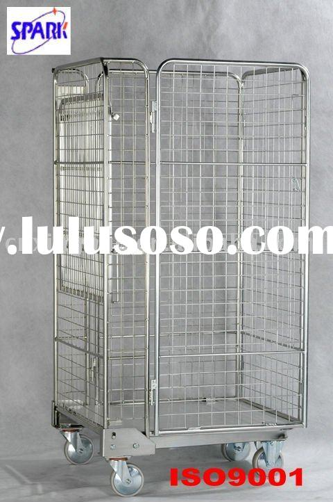 collapsible rolling mesh cage cart