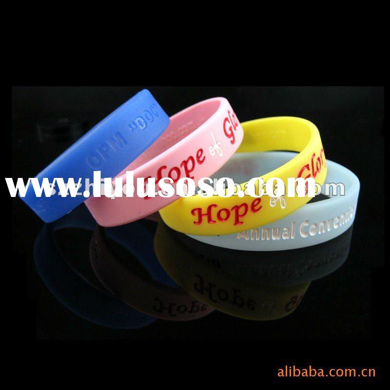 colorful embossed and debossed customized silicone bracelet