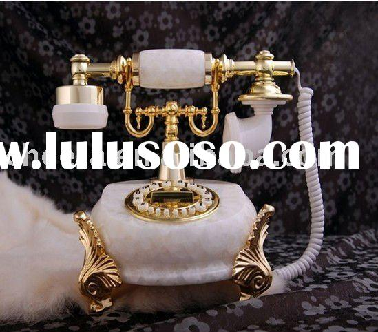 corded marble antique telephone for home decor
