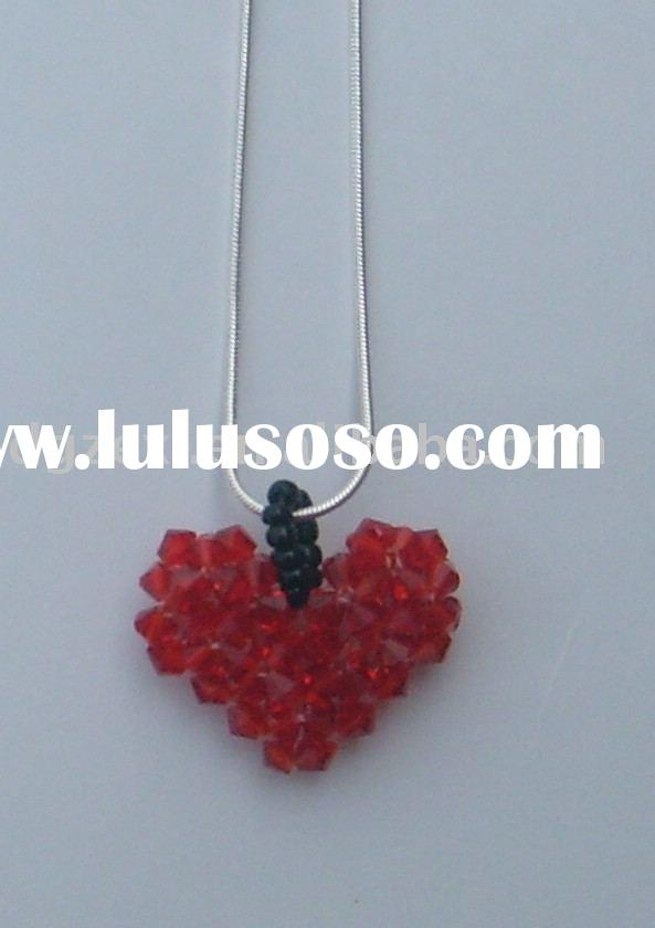 crystal bead heart shape pendant ,fashion jewelry,necklace pendant