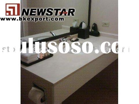 custom built bathroom cabinet with counter basins ceramic sink, granite counter top