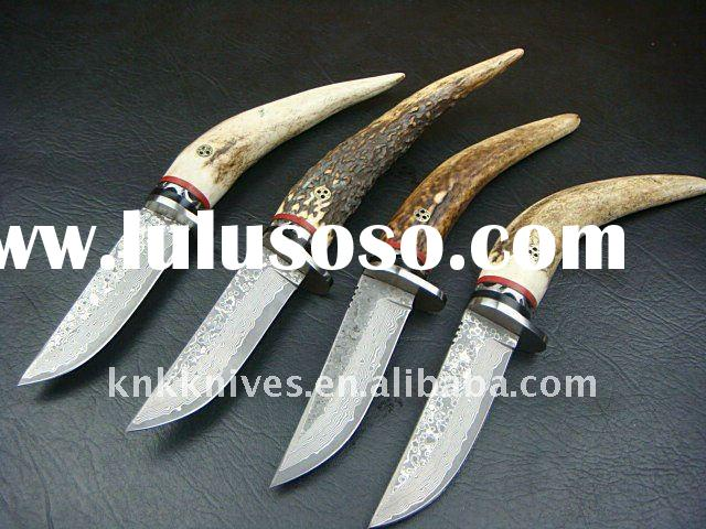 damascus knife with deer horn handle / damascus knife with deer stag handle