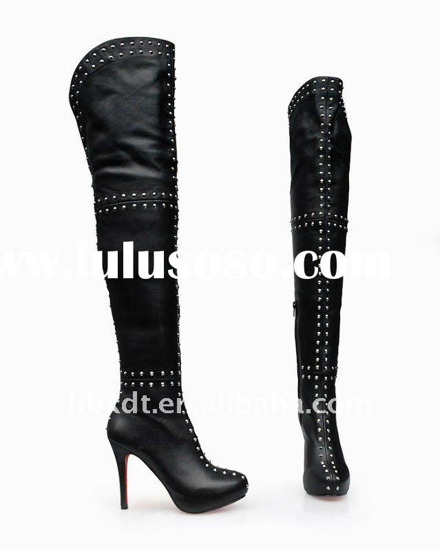 designer leather/nail high heel thigh boots for women winter
