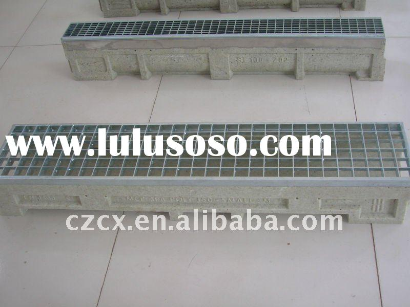 drain channel polymer concrete resin drain trench with steel mild bar grating