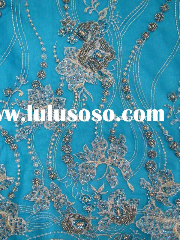 fancy wedding dress fabric with metallic hand embroidery design