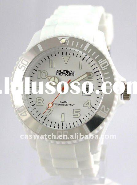 fashion custom face ice-ed silicone jelly watch plastic case 5atm water resistant calendar watch
