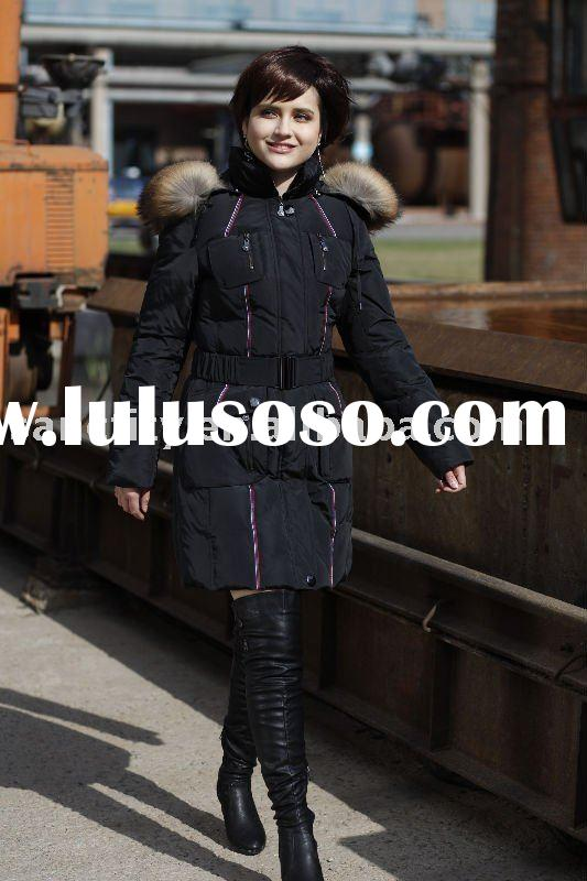 fashion long down coat with fox fur, mink fur