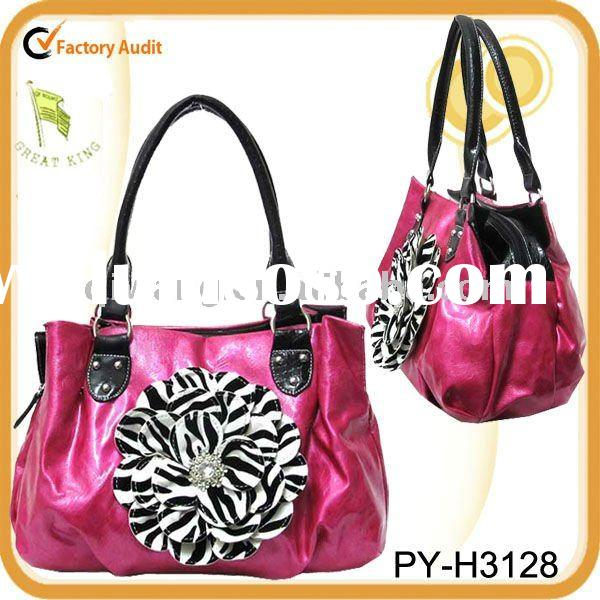 fashion zebra flower square satchel handbag