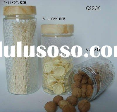 food grade glass storage jar with plastic lid