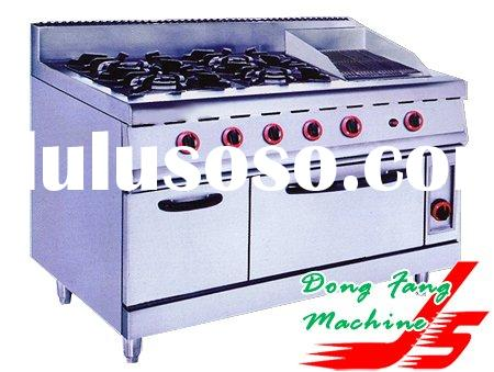 gas range with 4-burner&lava rock grill&oven