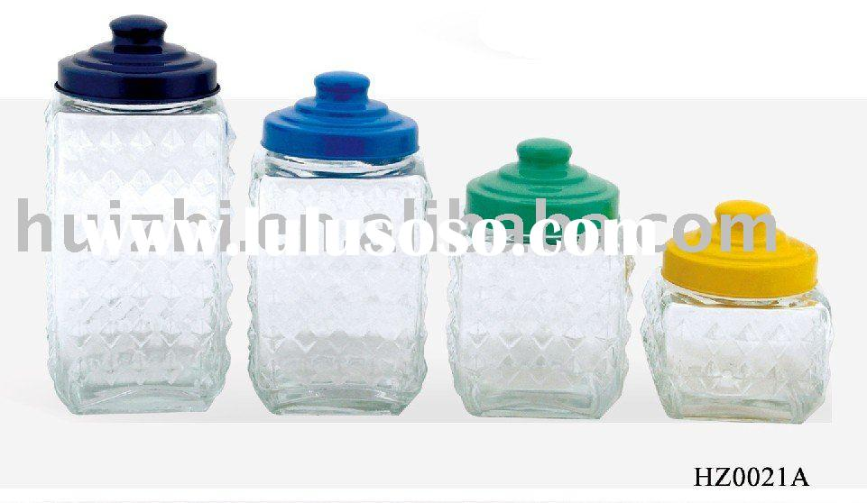 glass candy jar with plastic lid