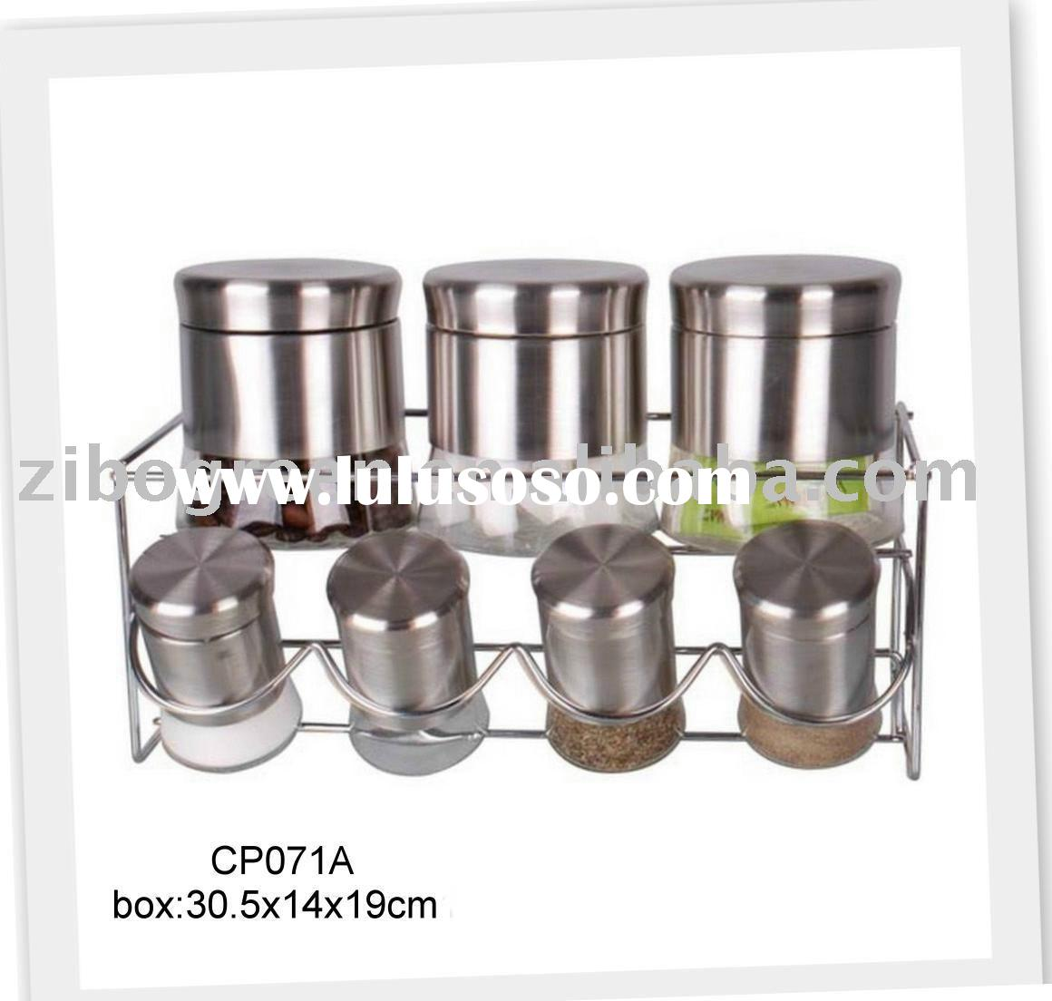 glass food storage jar with stainless steel casing with rack (CP071A)