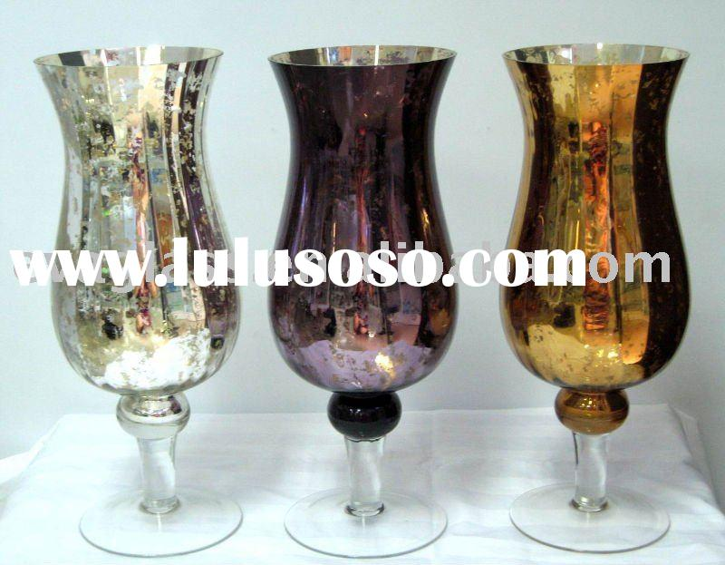 glassware hurricane glass candle holder in 3 spayed colors