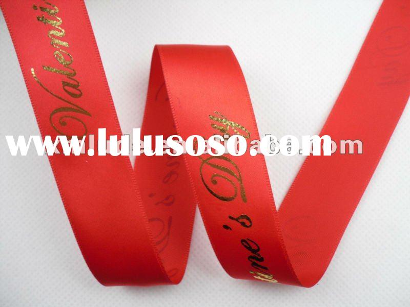 gold foil printed satin ribbon