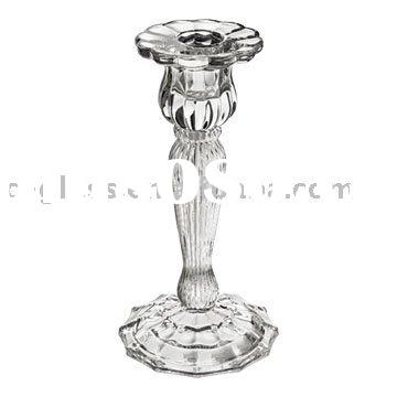 hand press clear glass taper candle holders