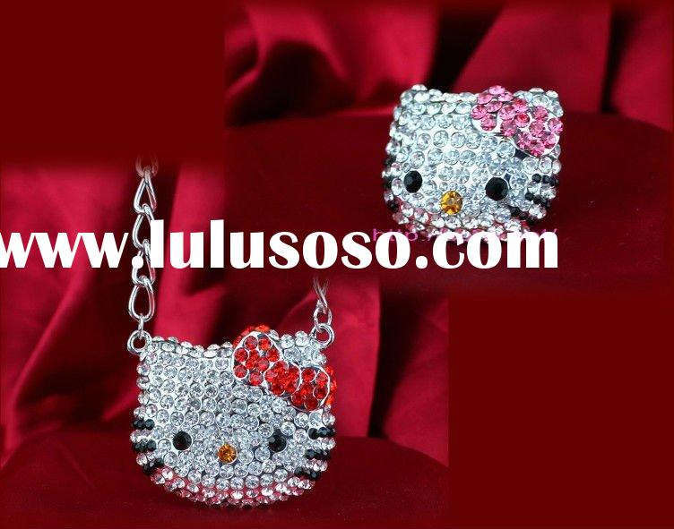 hot fashion alloy hello kitty studded crystal diamond 60 sets/lot with safe fast shipping
