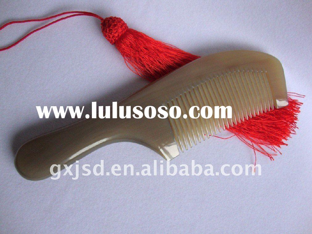 hot sell !!! wide and round teeth natural water buffalo ox horn hair comb as gift products for wavin