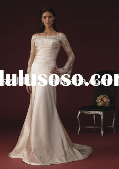 hotsale 2010 collection vintage long lace sleeves wedding dress SYF-540
