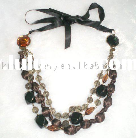 jewelry,satin ribbon fabric glass beads handmade beads necklace