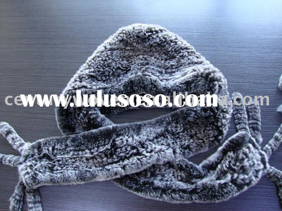 knit rabbit fur hat scarf