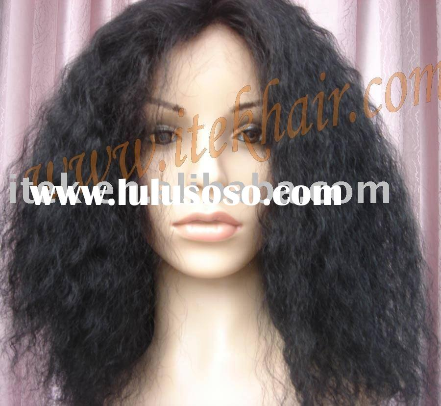 "large cap;16""100% indian natural remy human hair full lace wig for African-American,accept payp"