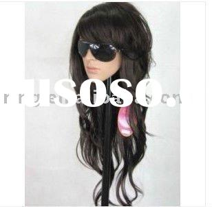 long black curly human made hair women's full wigs/hairpiece